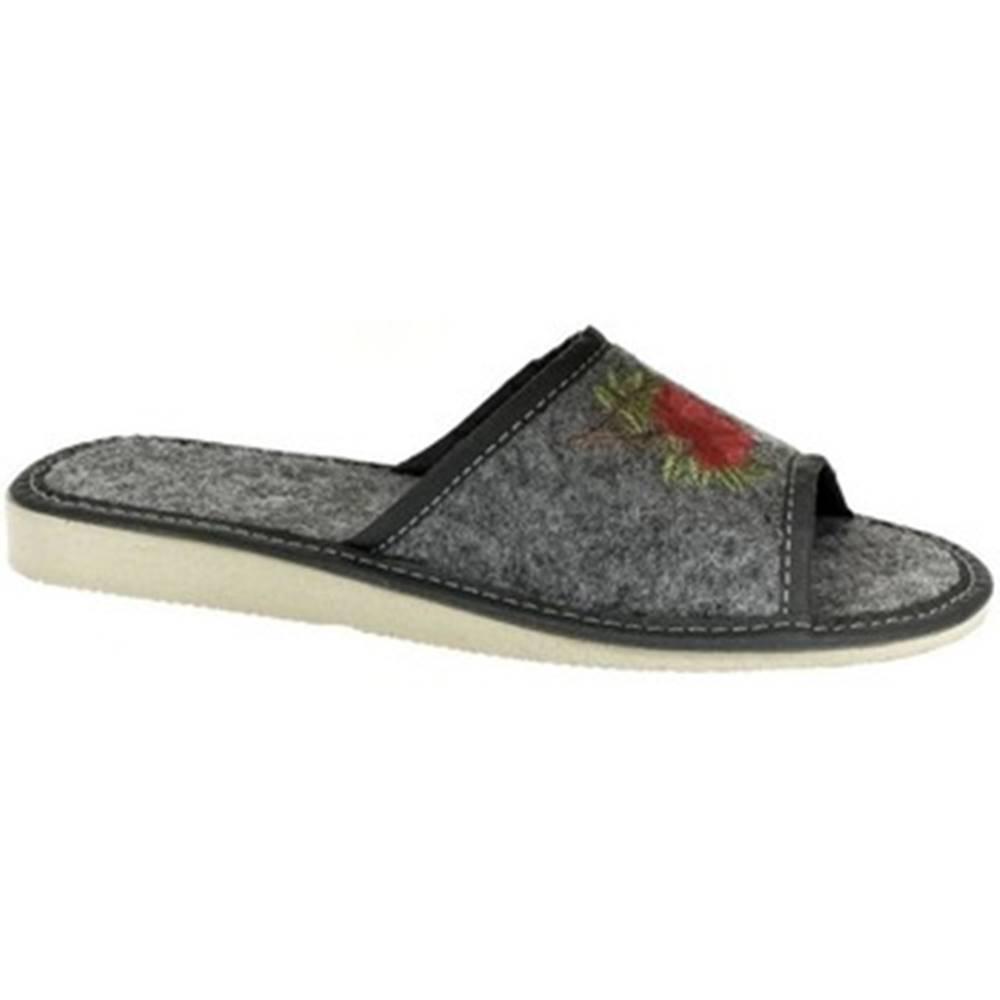 John-C Papuče  Dámske tmavo-sivé papuče ROSS