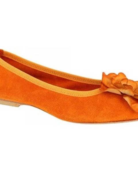 Oranžové balerínky Leonardo Shoes