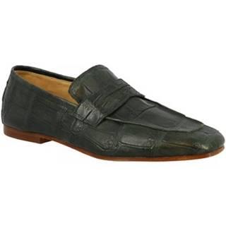 Mokasíny Leonardo Shoes  URBINO COCCODRILLO VERDE