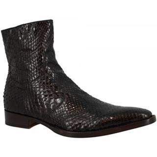 Polokozačky Leonardo Shoes  701 PITONE NERO LUX