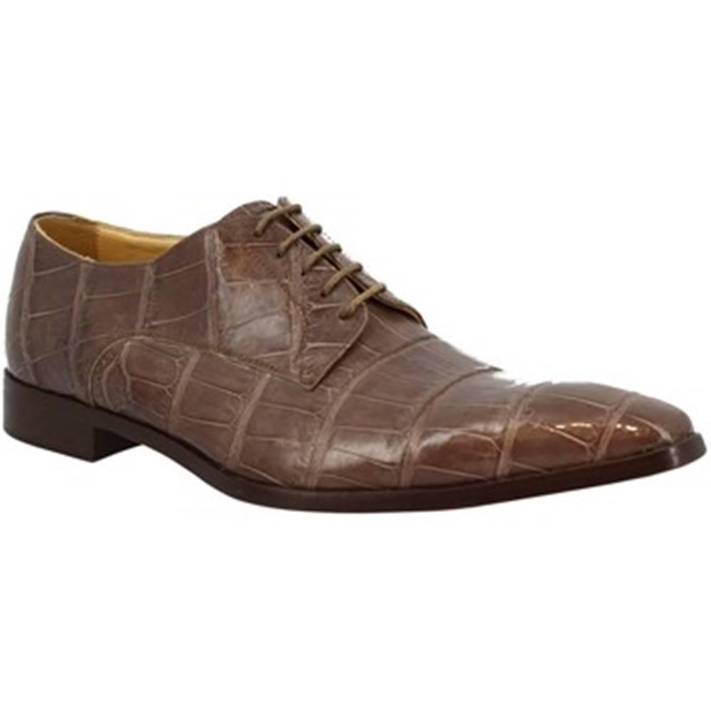 Leonardo Shoes Derbie Leonardo Shoes  SALERNO COCCODRILLO MARRONE