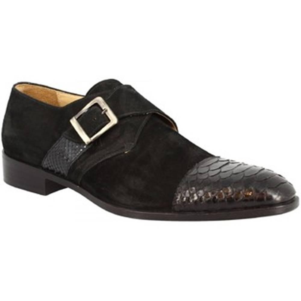 Leonardo Shoes Mokasíny Leonardo Shoes  202 CAMOSCIO NERO PITONE