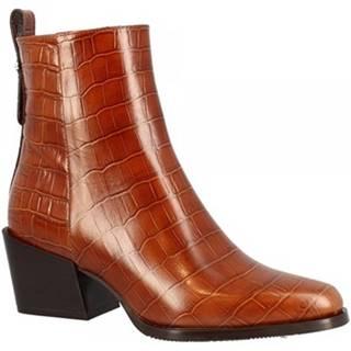 Polokozačky Leonardo Shoes  F02 COCCO COL BRANDY