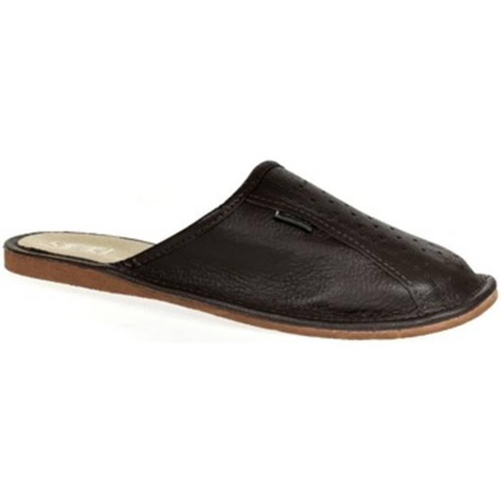 John-C Papuče  Pánske hnedé papuče JACK