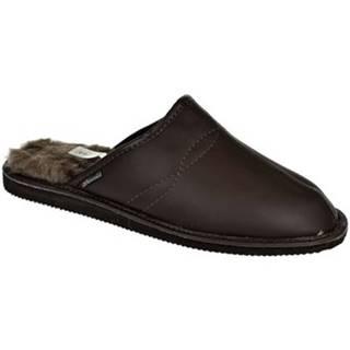 Papuče Just Mazzoni  Pánske luxusné kožené tmavo-hnedé papuče GIGS