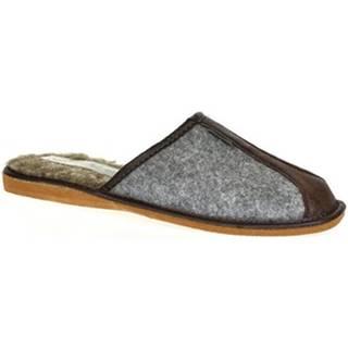 Papuče Just Mazzoni  Pánske sivo-hnedé papuče SIMON