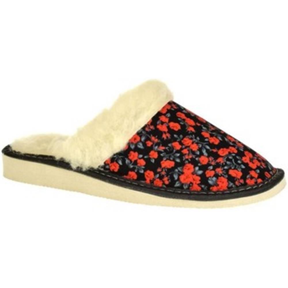 John-C Papuče John-C  Dámske čierno-červené papuče KIM