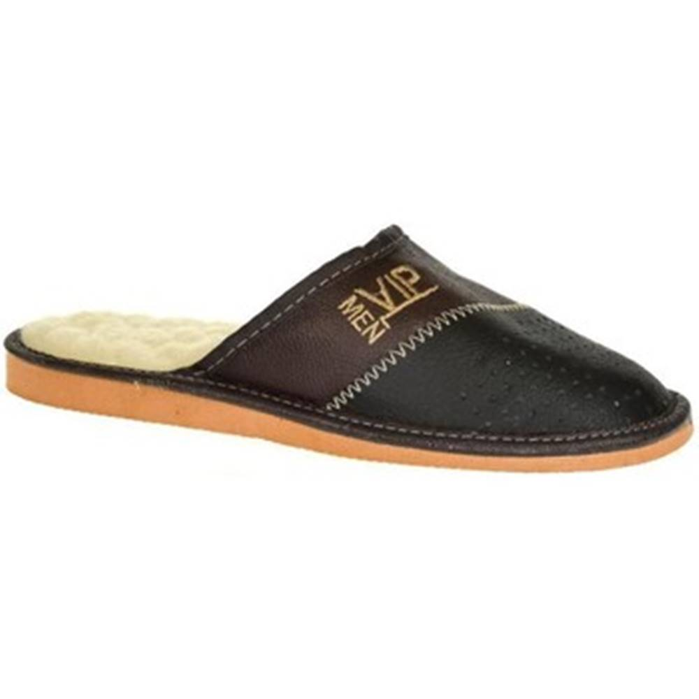 John-C Papuče John-C  Pánske čierno-hnede papuče VIPMEN