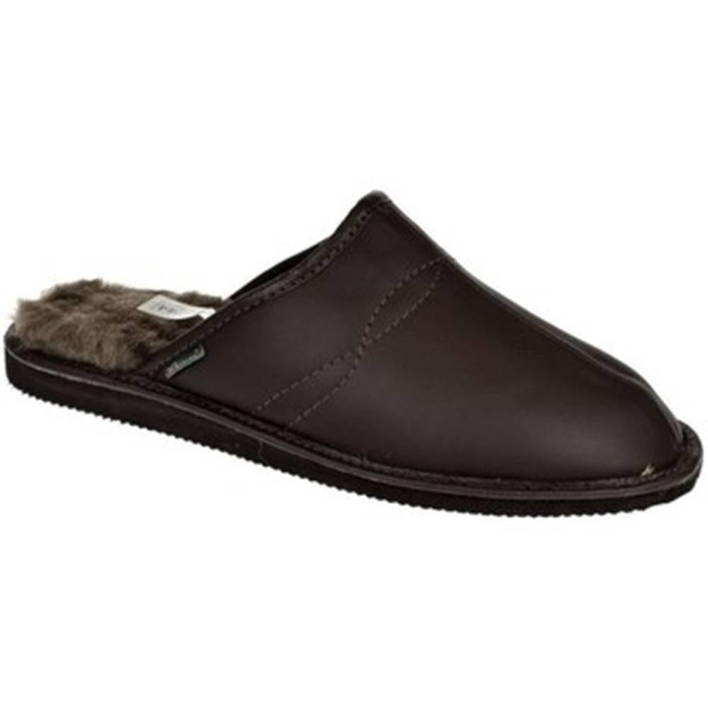 Just Mazzoni Papuče Just Mazzoni  Pánske luxusné kožené tmavo-hnedé papuče GIGS