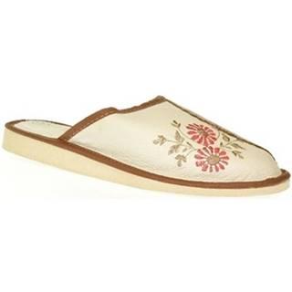 Papuče John-C  Dámske béžové kožené papuče RAYA