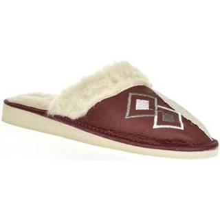 Papuče  Dámske bordové kožené papuče LIZA