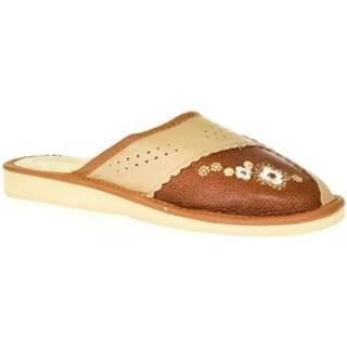Papuče John-C  Dámske hnedé kožené papuče RAJA