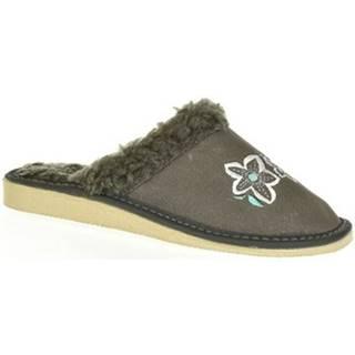 Papuče John-C  Dámske kožené sivé papuče BOJANA