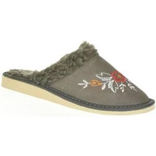 Papuče John-C  Dámske kožené sivé papuče LITYA