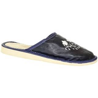 Papuče John-C  Dámske modré kožené papuče LIASA