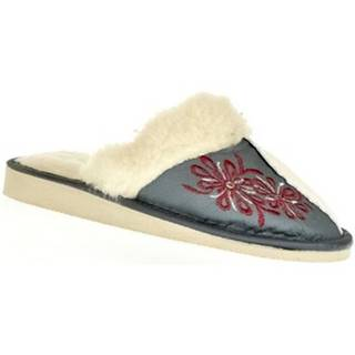 Papuče  Dámske sivé kožené papuče TAMARA