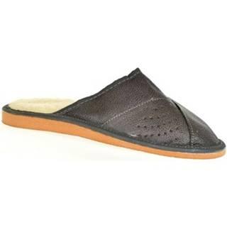 Papuče  Pánske sivé kožené papuče EDIK