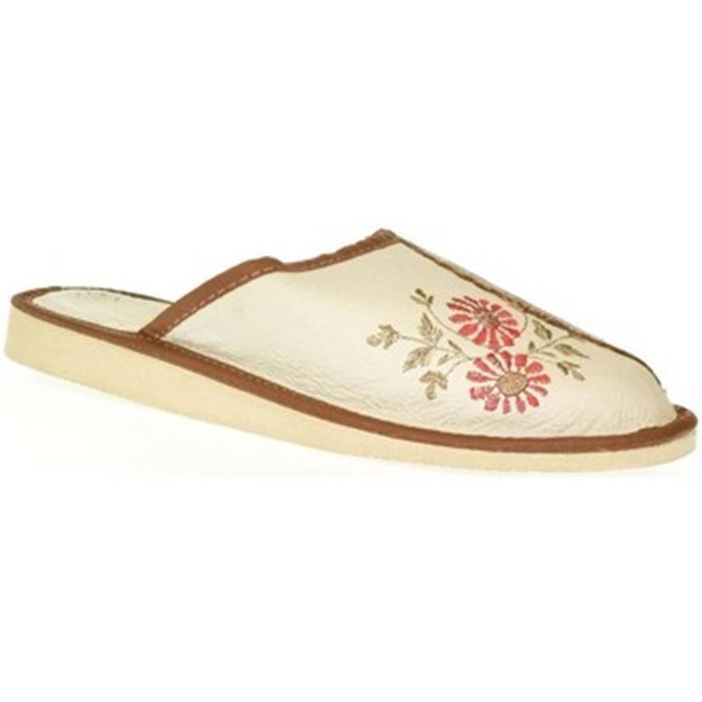 John-C Papuče  Dámske béžové kožené papuče RAYA