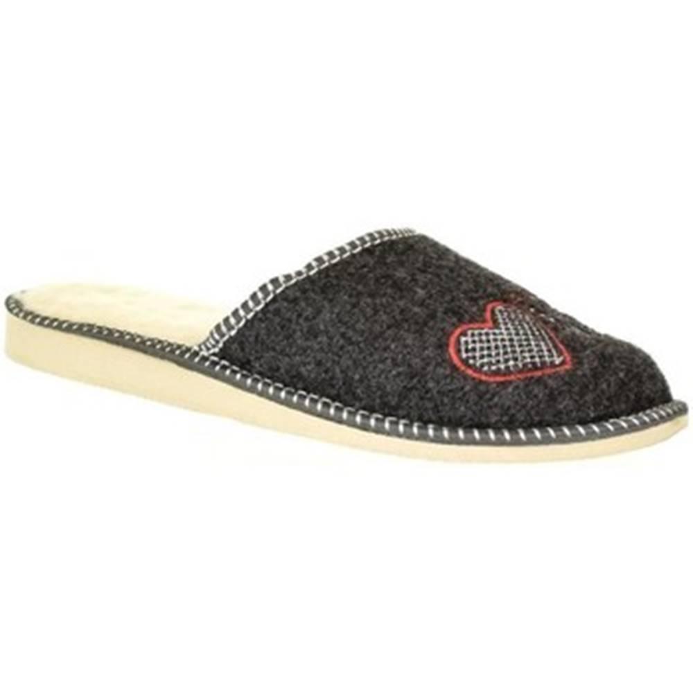 John-C Papuče John-C  Dámske sivé papuče SUPER MAMA