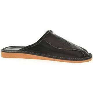 Papuče John-C  Pánske čierne papuče OLAN