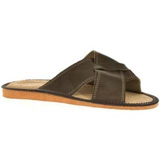 Šľapky John-C  Pánske hnedé papuče HUGO