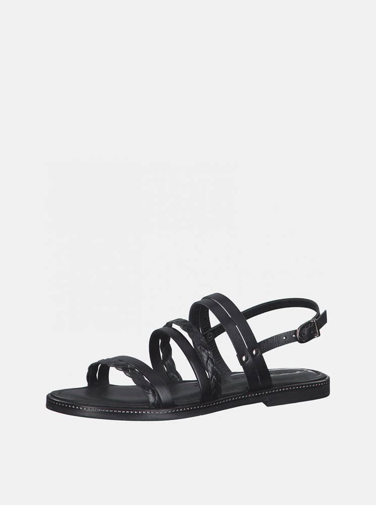 Tamaris Čierne kožené sandále Tamaris