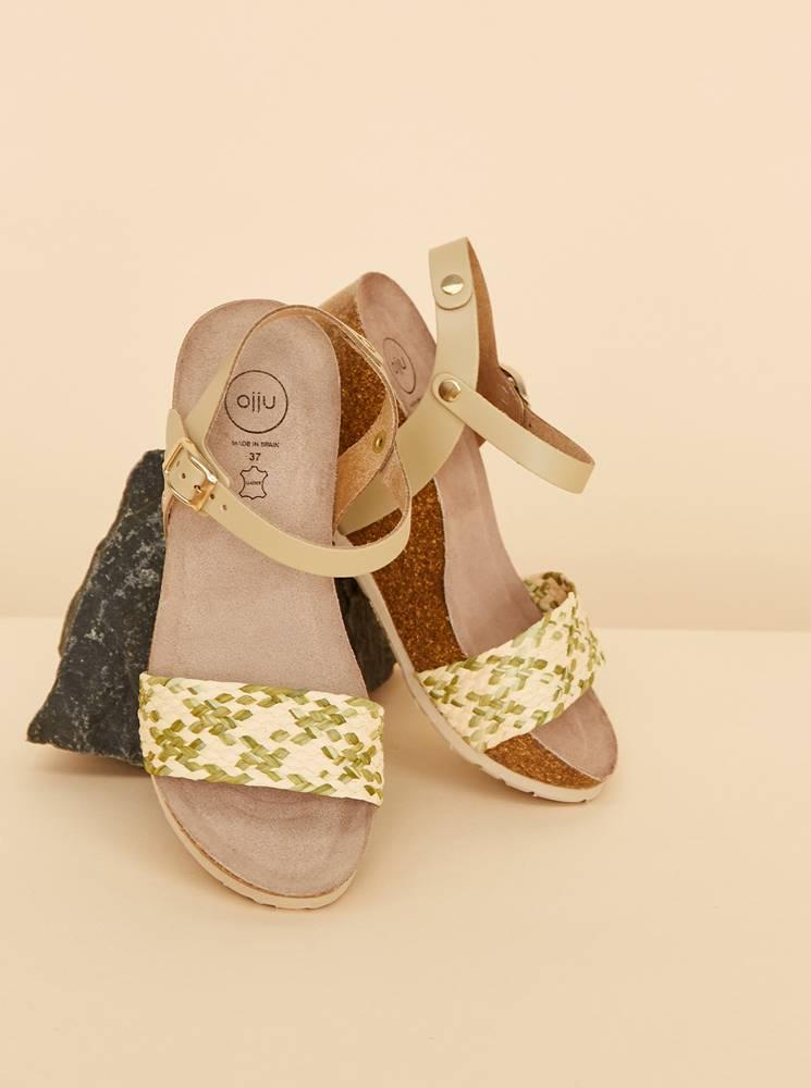 OJJU Béžovo-zelené dámske sandálky na plnom podpätku JJU