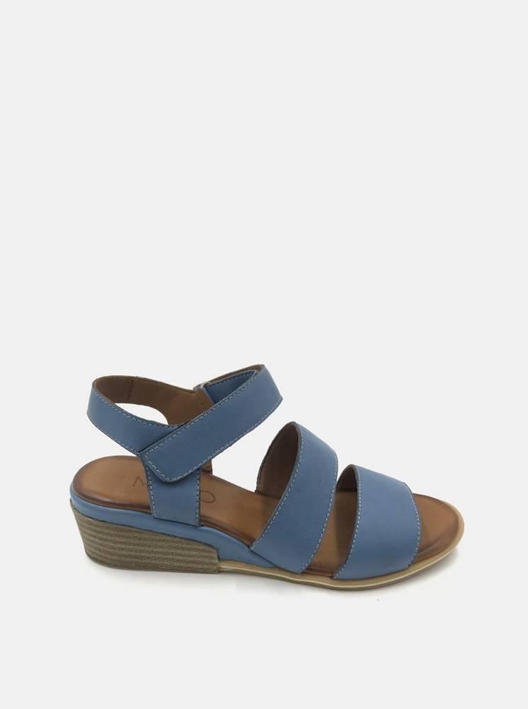 wild Modré kožené sandálky na plnom podpätku WILD