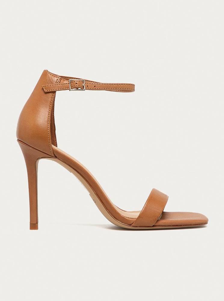 Aldo Hnedé kožené sandálky na vysokom podpätku ALDO Afendaven