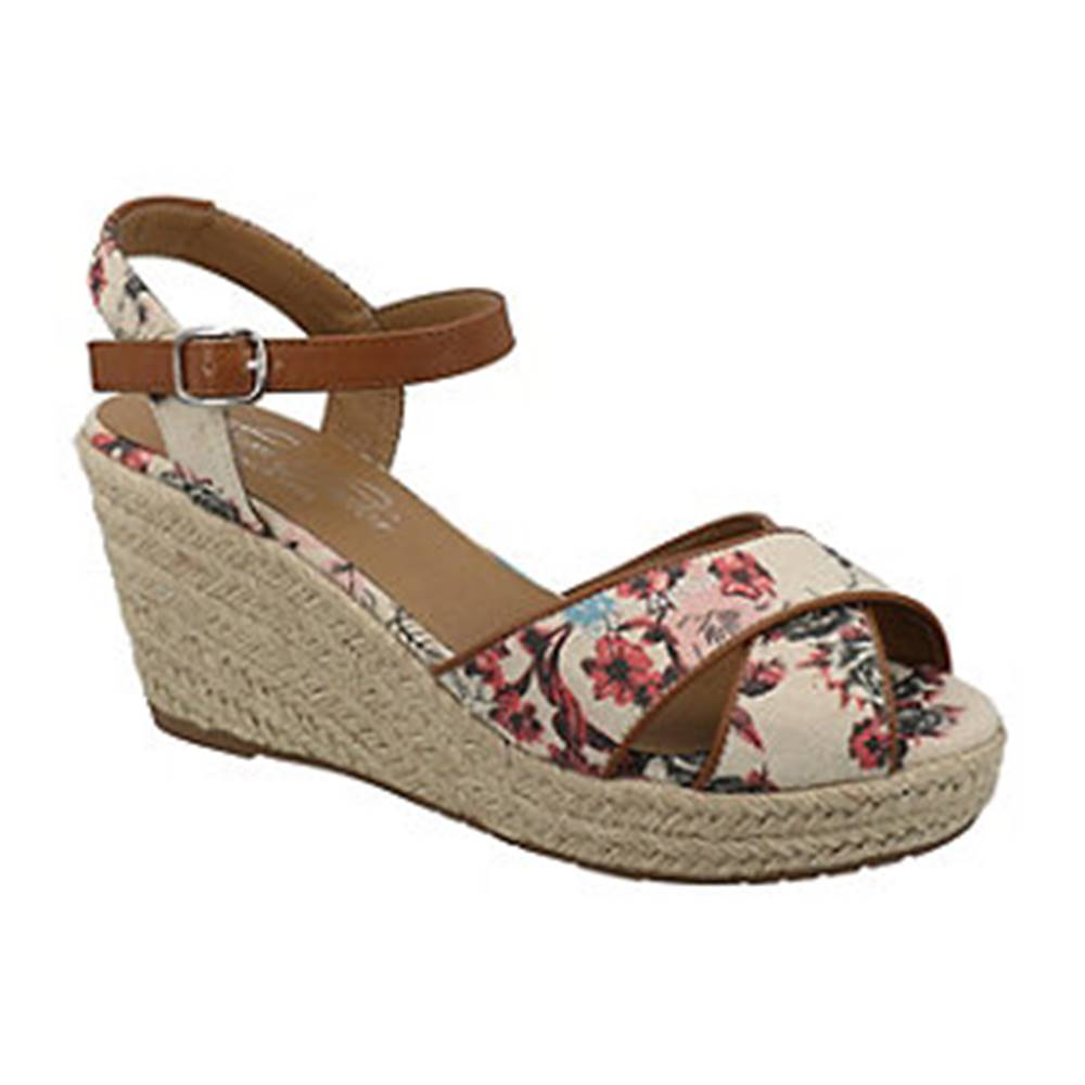Tom Tailor Béžové sandále na klinovom podpätku s kvetinovým vzorom