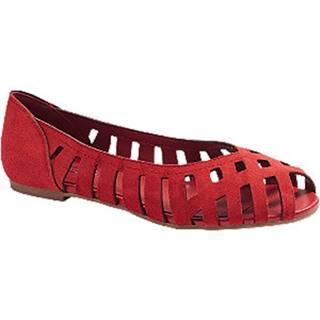 Červené kožené baleríny