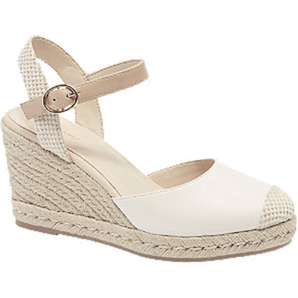 Graceland Biele sandále na klinovom podpätku