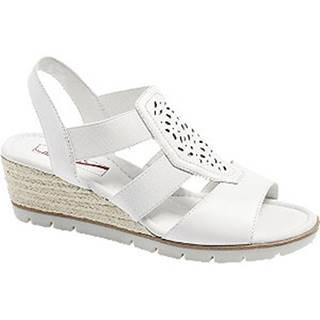 Biele kožené komfortné sandále na klinovom podpätku
