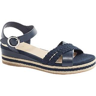 Tmavomodré sandále na klinovom podpätku Graceland