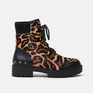 Hnedé dámske kožené členkové topánky s leopardím vzorom  Biker Leopard