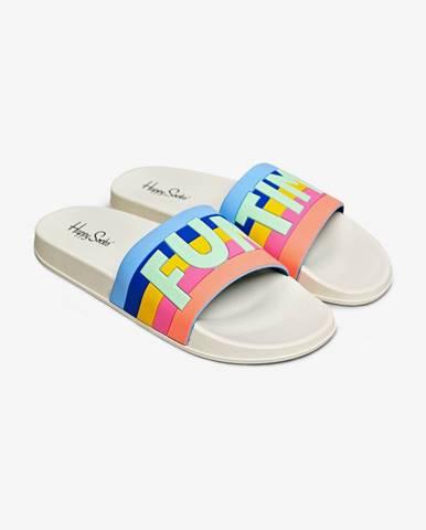 Biele papuče Happy Socks