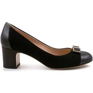Lodičky Leonardo Shoes  4003 NAPPA NERO CAM NERO