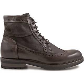 Polokozačky Leonardo Shoes  4682 OXFORD DELAVE CIOCCOLATO