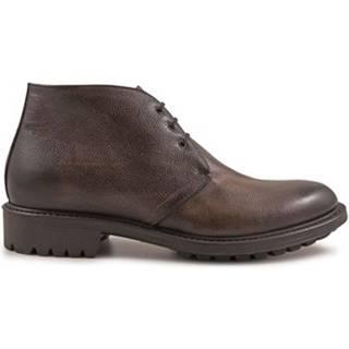 Polokozačky Leonardo Shoes  4813 SCOZIA DELAVE CIOCCOLATO I