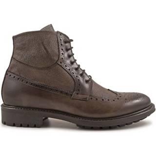 Polokozačky Leonardo Shoes  4815 VITELLO DELAVE TAUPE