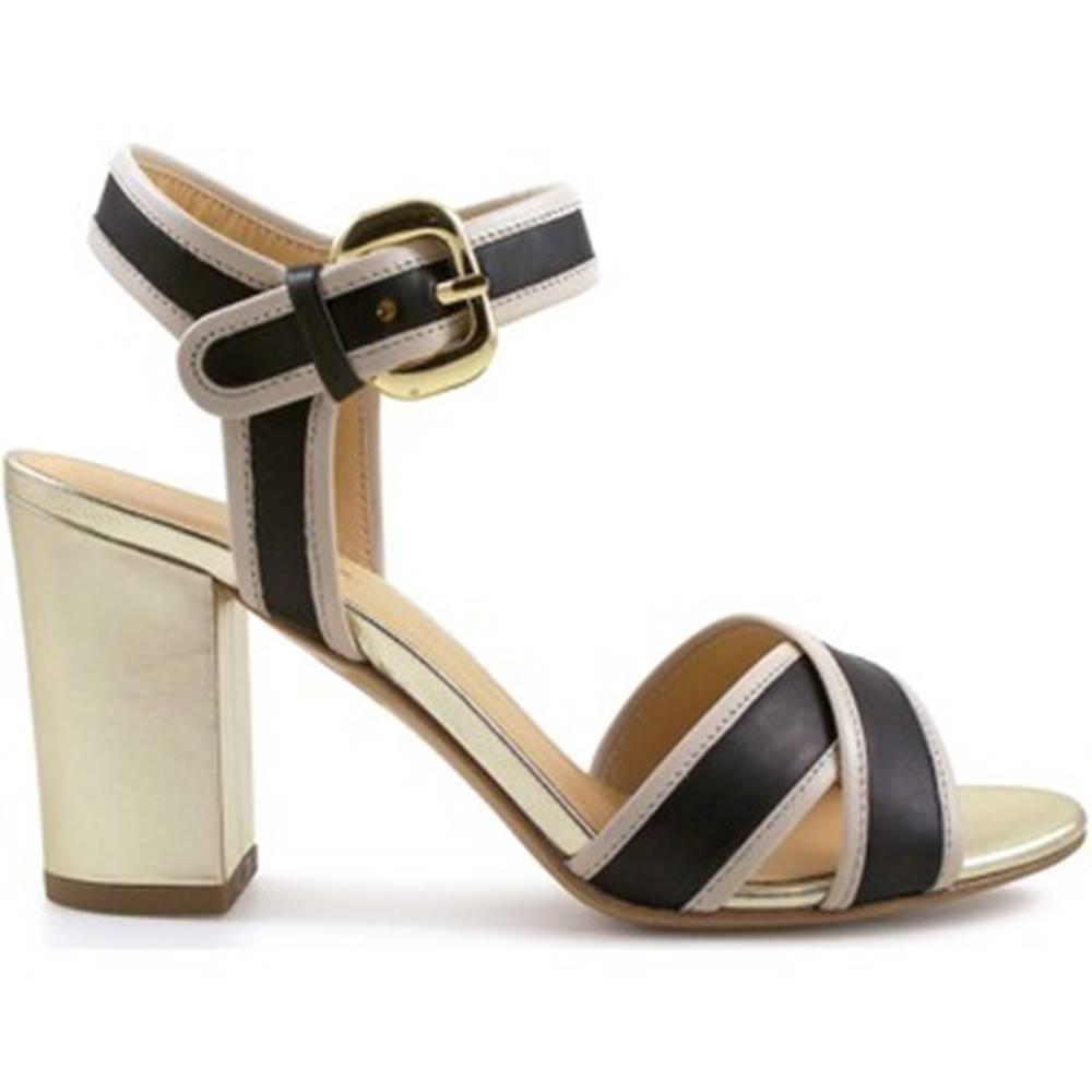 Leonardo Shoes Sandále Leonardo Shoes  6350 VIT NERO VIT BEIGE LAM ORO