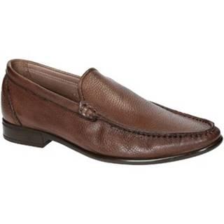 Mokasíny Leonardo Shoes  06943 12991 FORMA SCA CERVO BRANDY