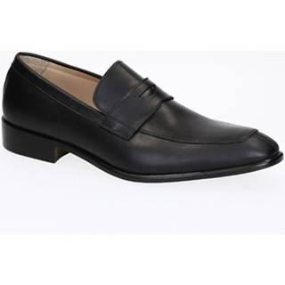 Mokasíny Leonardo Shoes  PINA 8 VITELLO NERO