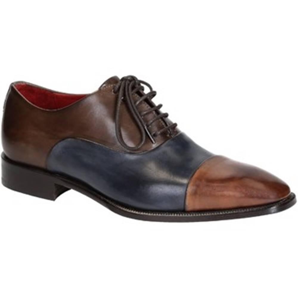 Leonardo Shoes Richelieu Leonardo Shoes  06884 14221 BLU-BRANDY
