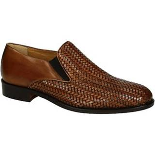 Mokasíny Leonardo Shoes  07669 FORMA 40 METISSE 2 CUOIO