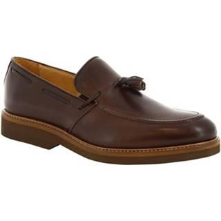 Mokasíny Leonardo Shoes  07013 FULL CIOCCOLATO