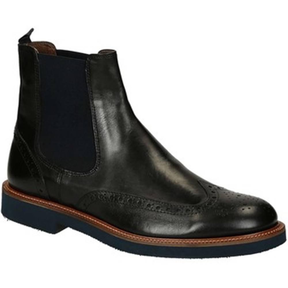 Leonardo Shoes Polokozačky Leonardo Shoes  U385 PE VITELLO NERO 8260 C024