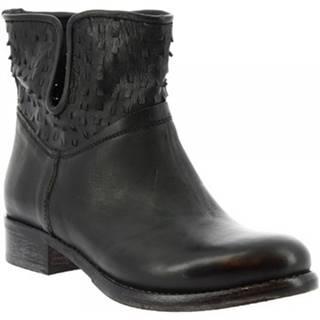 Polokozačky Leonardo Shoes  K304 KIRI NERO