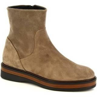 Polokozačky Leonardo Shoes  3860/5 VELVET TAUPE