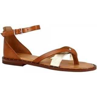 Sandále Leonardo Shoes  303B LAM. PLAT. CUOIO